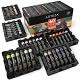 ARTEZA Gouache Paint, Set of 60 Colors/Tubes (12 ml/0.4 US fl oz) Opaque Paints, Ideal for Canvas Painting, Watercolor Paper, Toned Paper, or Using with Watercolors andMixed Media
