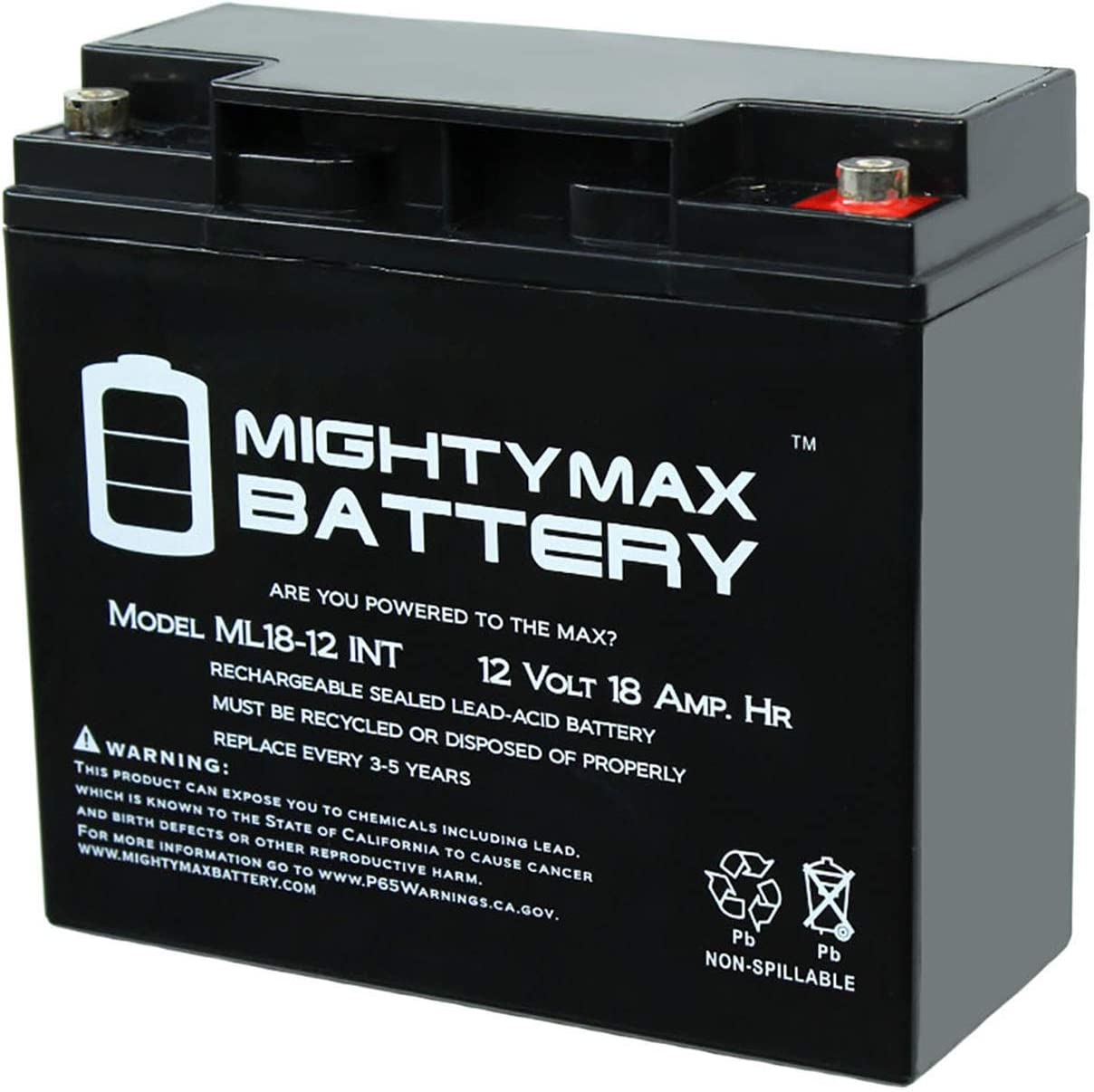 Mighty Max Battery 12V 18AH SLA Internal Thread Replacement for Vision CP12180 Brand Product