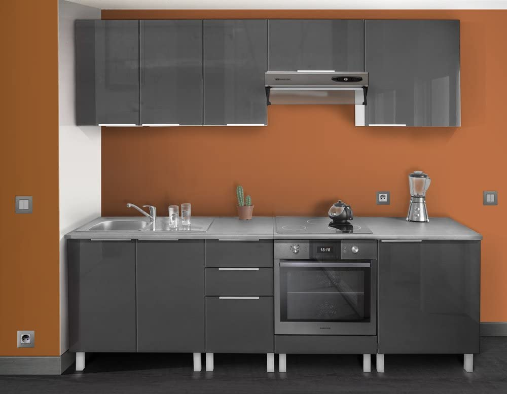 Berlenus CP6BG Kitchen Base Unit 60/cm 1 Door High-Gloss Grey