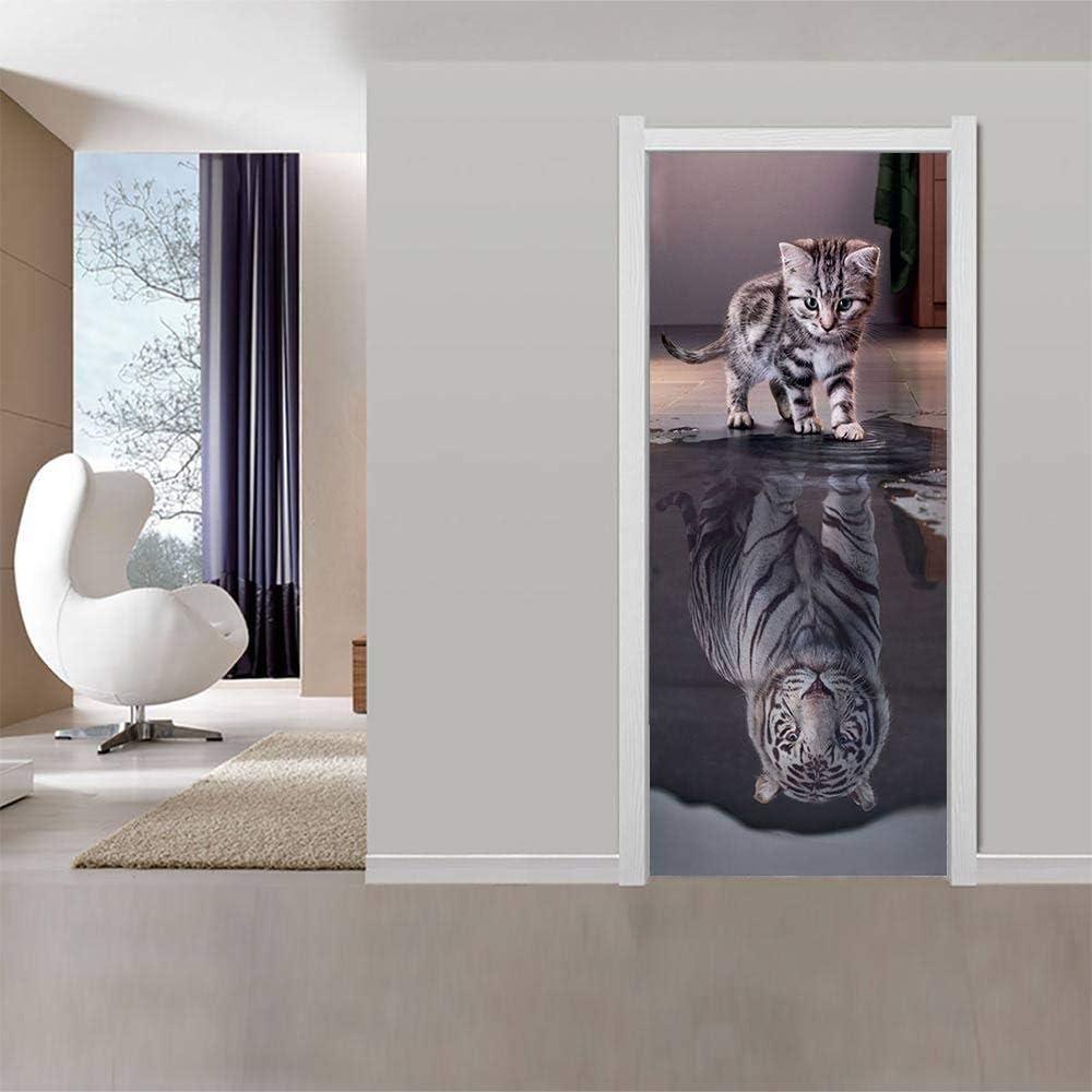 A T/ürtapete Selbstklebend 3D 100x200cm Tiger Katze Wasserdicht PVC T/ürtattoos T/ürposter T/üraufkleber T/ürfolie Wandtattoo F/ür Wohnzimmer Schlafzimmer K/üche Toilette N
