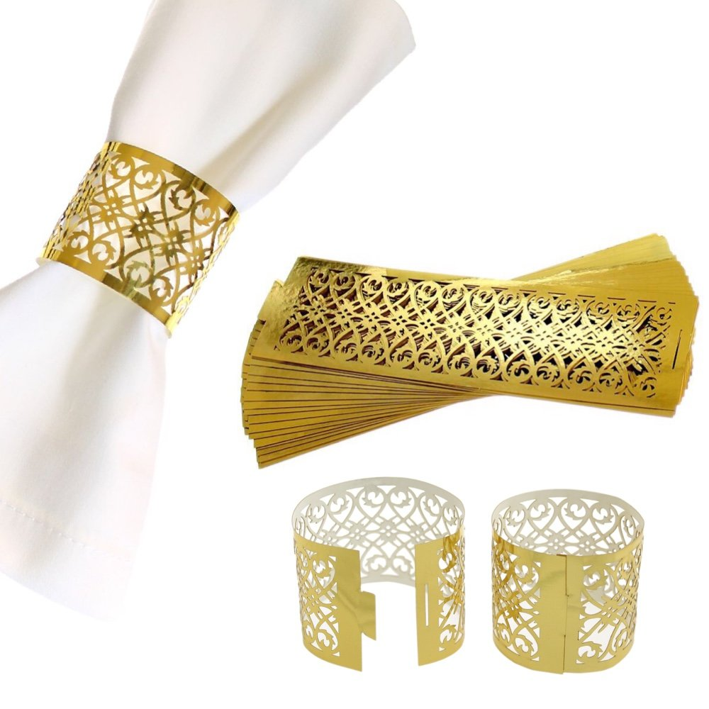 CB Accessories Premium Napkin Rings Set of 24 for Table Settings Decoration, Dinner Parties, Weddings, Special Events and Catering Services (Gold, 24 Pieces) COMINHKPR152137