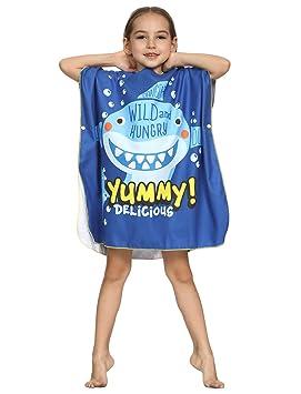 CAMLAKEE Poncho Toalla Niños Niñas - Toalla de Playa Estampado Animados - Toallas de Baño con Capucha Infantiles Yummy Tiburón 66X65cm: Amazon.es: Hogar