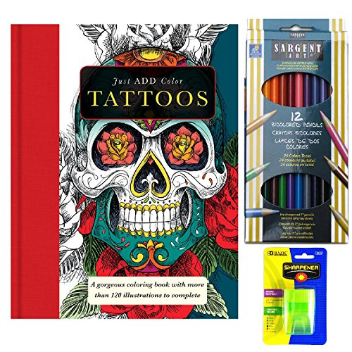 Coloring Book Bundle - Sargent Bi-Color Pencils With Just Add Water Tattoos (Tattoo Skull Pic compare prices)
