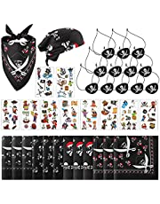 34 Piece Pirate Apparel Accessories Set Include Pirate Bandanna Black Felt Pirate Eye Patches Skull Crossbones and Pirate Tattoos for Halloween Pirate Birthday Party Favors and Costume Props