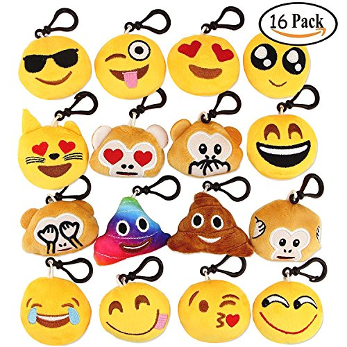 Dreampark Emoji Keychain Mini Cute Plush Pillows Kids Party Supplies Favors, Emoticon Key Chain Toy Decorations, 2″ Set of 16
