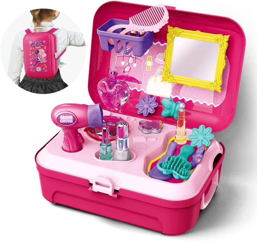 Amazon Com Gizmovine Girls Pretend Play Makeup Set For Children Kids Make It Up For Little Girls Princess Toys For Toddlers Girl 3 4 5 6 Year Old Toys Games
