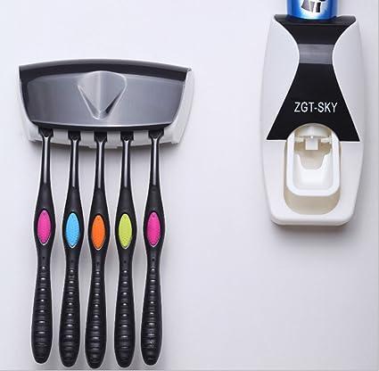 Domi manos libres dispensador de pasta de dientes pasta de dientes automático Exprimidor y cepillo de