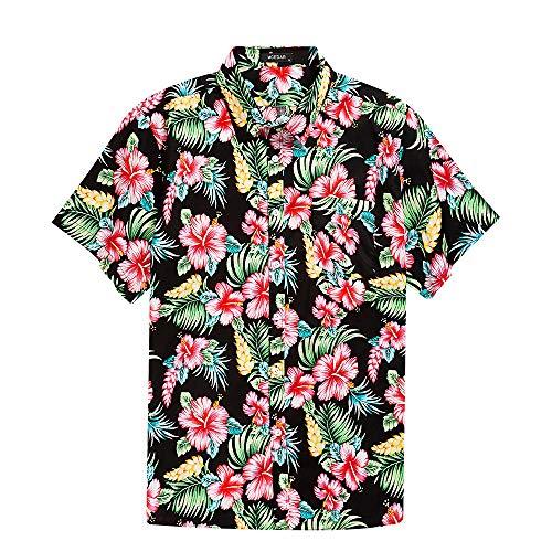Men's Hawaiian Short Sleeve Shirt- MCEDAR Aloha Flower Print Casual Button Down Standard Fit Beach Shirts (XX-Large, RED)