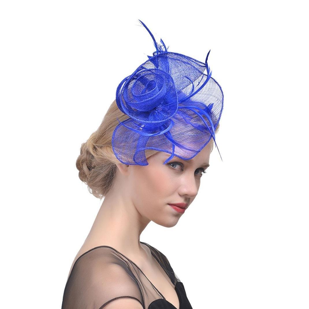 Chapeau Rétro, YUYOUG Mode Cheveux Élégant Plume Fascinator Mesh Voile Chapeau Mariage Fête Cocktail