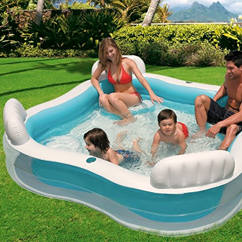"""Intex Swim Center Family Lounge Inflatable Pool, 90"""" X 90"""" X 26"""", for Ages 3+"""