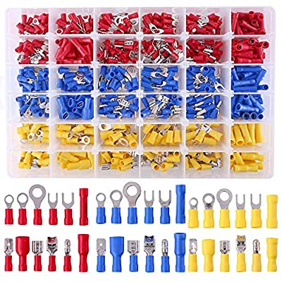 Glarks 540pcs 22-16/16-14/12-10 Gauge Mixed Quick Disconnect Electrical Insulated Butt Bullet Spade Fork Ring Solderless Crimp Terminals Connectors Assortment Kit: Home Improvement
