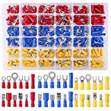 Glarks 540pcs 22-16/16-14/12-10 Gauge Mixed Quick Disconnect Electrical Insulated Butt Bullet Spade Fork Ring Solderless Crimp Terminals Connectors Assortment Kit