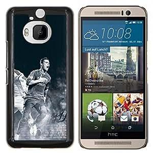 Ronaldo jugador de fútbol- Metal de aluminio y de plástico duro Caja del teléfono - Negro - HTC One M9+ / M9 Plus (Not M9)