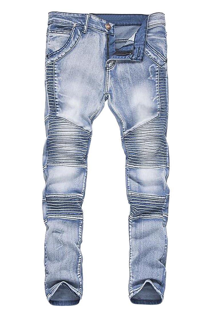 Fensajomon Mens Vintage Ruffle Slim Fit Straight-Leg Jean Denim Pants Light Blue XS