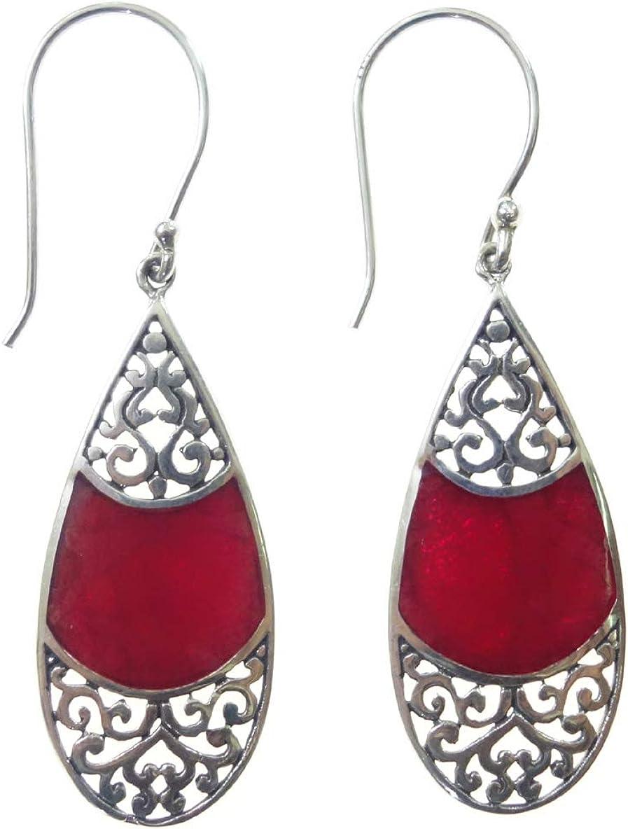 Pendientes colgantes hechos a mano para mujer, auténtica plata de ley 925 con piedra natural de coral rojo, diseño único, diseño moderno, joyería de regalo de fiesta por Artisans