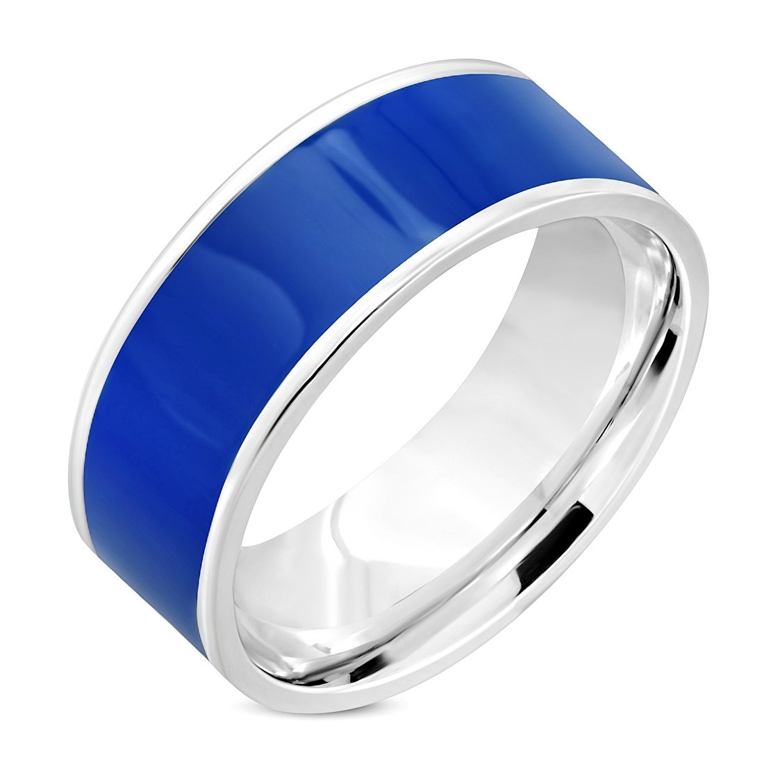 Stainless Steel 2 Color Blue Enameled Comfort Fit Flat Band Ring