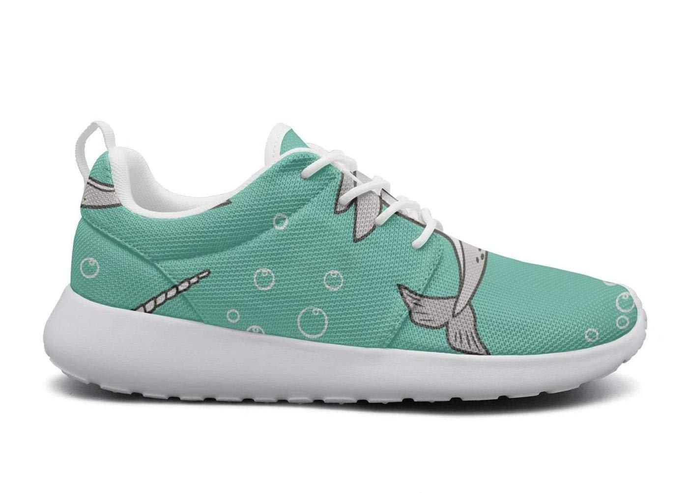 IOJEYOIRFJ Cartoon Narwhal Grey Green Backdrop Womens Fashion Lightweight Running Shoes