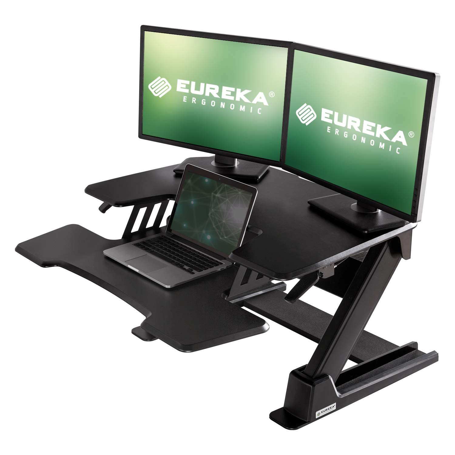 [Upgrade]Eureka Ergonomic V2 Sit To Stand Desk Converter, 36'' Height Adjustable Standing Desk Risers Converters Desktop Stand Computer Workstation Home Office Computer Desk with Keyboard Tray - Black