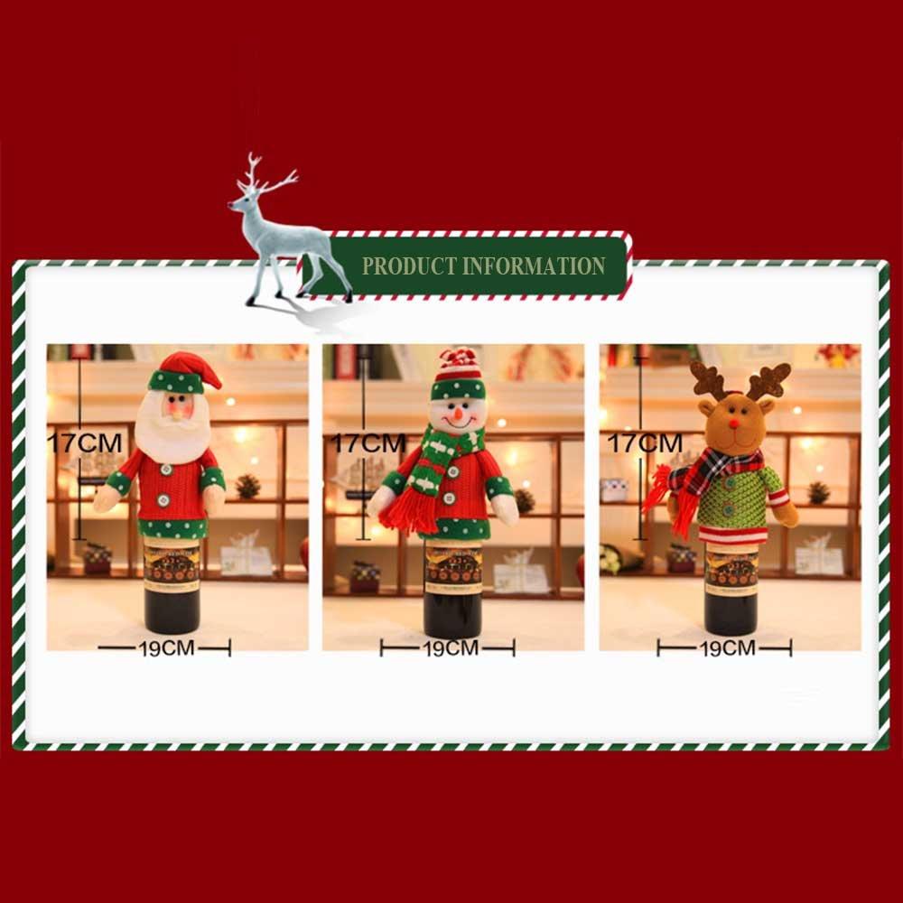 Christmas Decorations Cute Christmas Wine Bottle Cover Set Xmas Santa Elk Table Decor Party Gift for Christmas Party Hotel Kitchen Table Decor (Santa Claus)