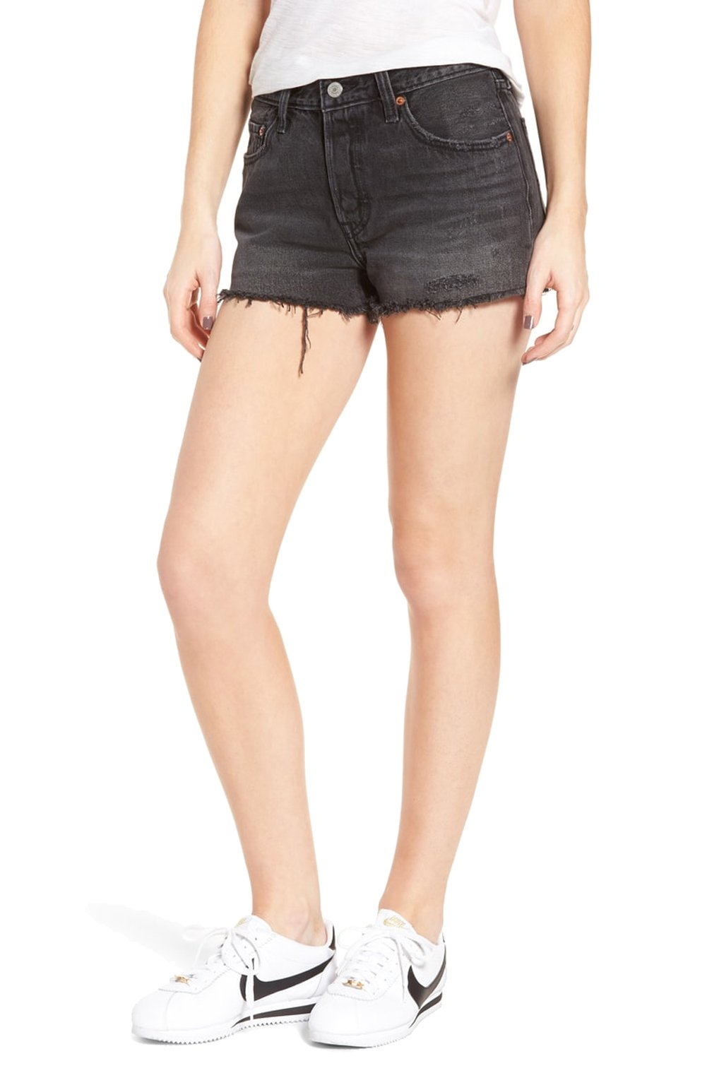 Levi's Women's 501 Shorts (28 (US 6), Trashed Black)