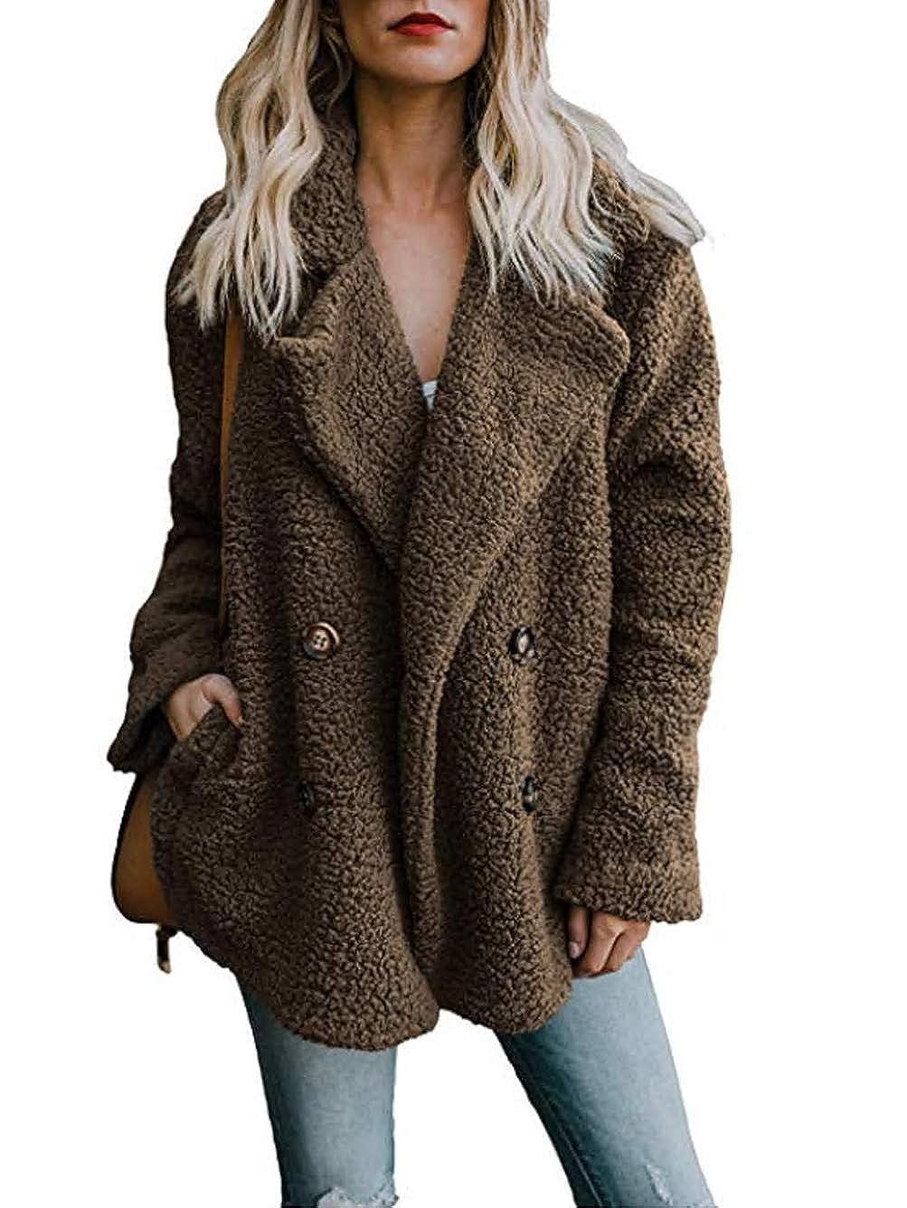 Famulily Women's Winter Warm Open Front Fleece Fluffy Jacket Coat Outwear with Pockets 256342F2