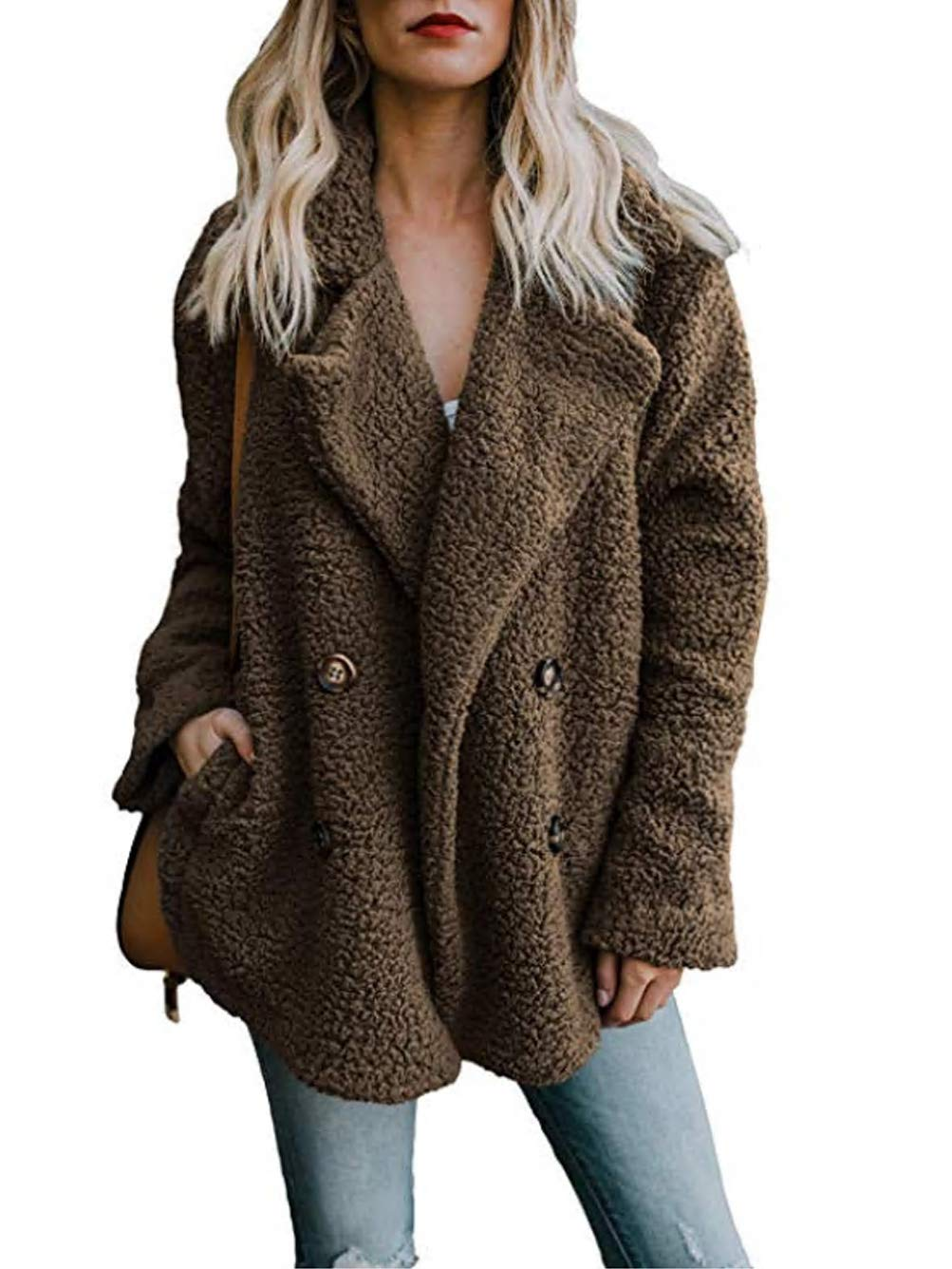 Famulily Women's Plus Size Soft Warm Casual Oversized Long Sleeve Open Front Fuzzy Coat with Pockets Fluffy Outerwear Sweater Coffee X-Large