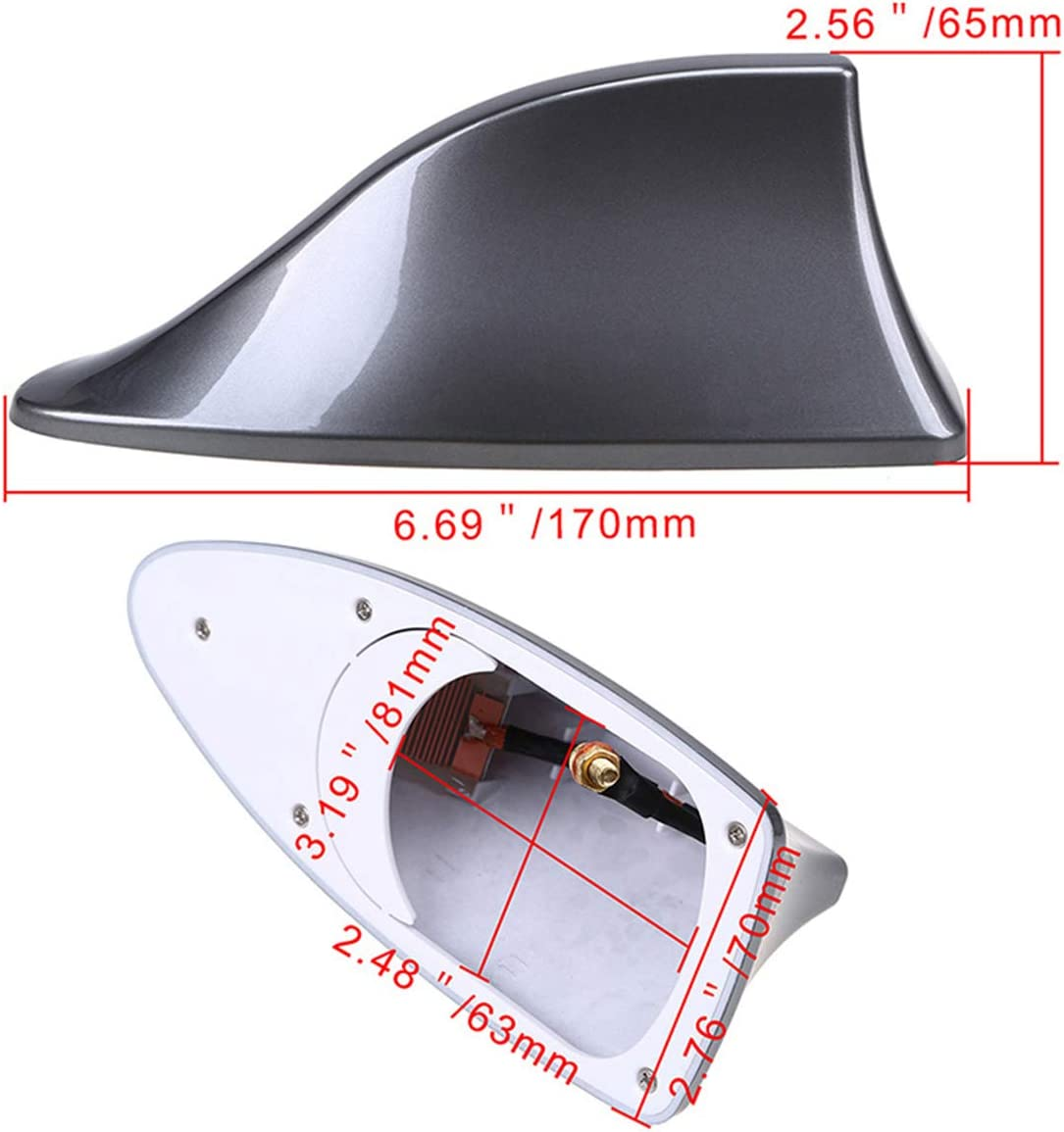 Grey Universal Vehicles FM Signal Fin Aerials Cover Car Top Roof Radio Shark Fin Antenna Cover