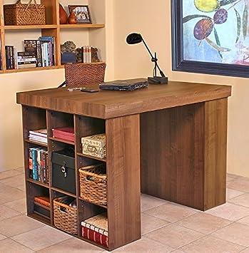 Venture Horizon Project Center Desk With 2 Bookcase Sides Walnut