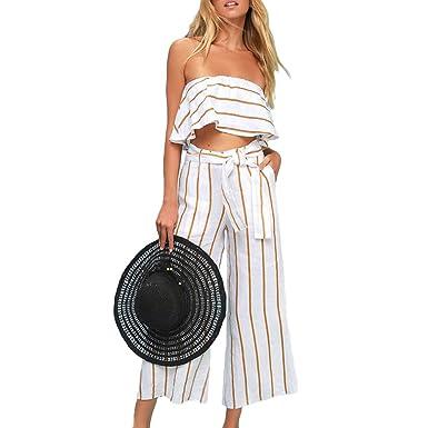 11cd1683610 Amazon.com  Joteisy Women s 2 Piece Outfit Off Shoulder Ruffles Crop Top  High Waist Tie Belt Wide Leg Long Pants Casual Jumpsuit  Clothing
