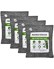 HOMINE Bamboo Charcoal Air Purifying Bags (4 Pack), Natural Activated Charcoal Bags Moisture Odor Absorber Pet Friendly, Efficient Air Purifier Odor Eliminators Air Freshener for Home and Car