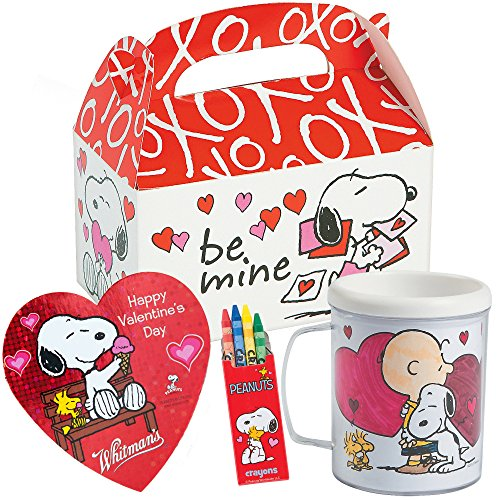(Peanuts Snoopy Valentines Day Gift Basket | Snoopy DIY Color Your Own Mug, Peanut Themed Crayons, Whitman's Sampler Chocolate 1.6 Oz & Favor Treat Box to Put Everything in | Classroom Exchange)