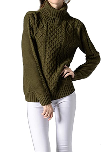 9874d4745b0 Sovoyant Women s High Neck Chunky Cable Knit Long Sleeve Sweaters Army Green