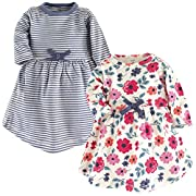 Touched by Nature Baby Girls 2-Pack Organic Cotton Dress, Garden Floral, 0-3 Months