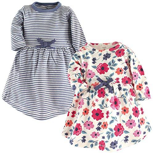 Touched by Nature - Vestido de algodón orgánico para niña (2 Unidades), Floral (Garden Floral), 6-9 Meses