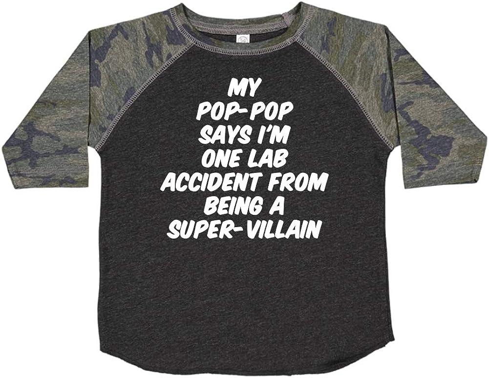 My Pop-Pop Says Im One Lab Accident from Being A Super-Villain Toddler//Kids Raglan T-Shirt