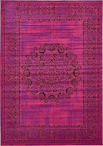 Unique Pink Color - Unique Loom Imperial Collection Modern Traditional Vintage Distressed Fuchsia Area Rug (7' 0 x 10' 0)