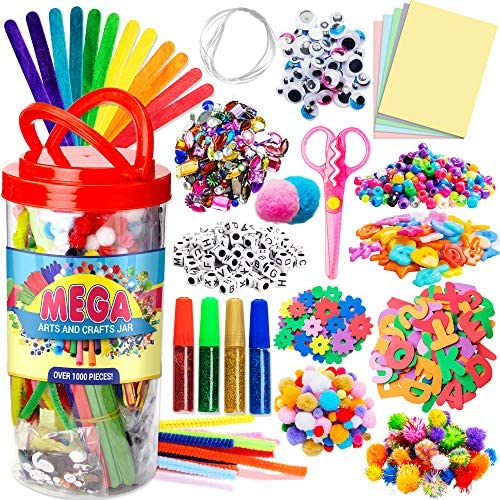 Dragon Too Mega Kids Crafts and Art Supplies Jar Kit - 1000+ Piece Set - Make Bracelets and Necklaces - Plus Glitter Glue, Construction Paper, Colored Popsicle Sticks, Google Eyes, Pipe Cleaners