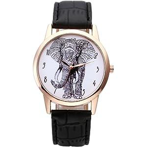 Armbanduhr skizze  Souarts Damen Vergoldet Farbe Schwarz Elefant Armbanduhr Armreif ...