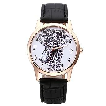 jsdde Relojes, Vintage Mujer Reloj De Pulsera Dibujo Elefante Esfera Reloj de Pulsera Piel Pulsera analógico de Cuarzo Reloj, Negro: Amazon.es: Relojes