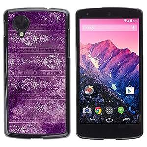 TopCaseStore / la caja del caucho duro de la cubierta de protección de la piel - Wallpaper Purple Retro Style Design Vintage - LG Google Nexus 5 D820 D821