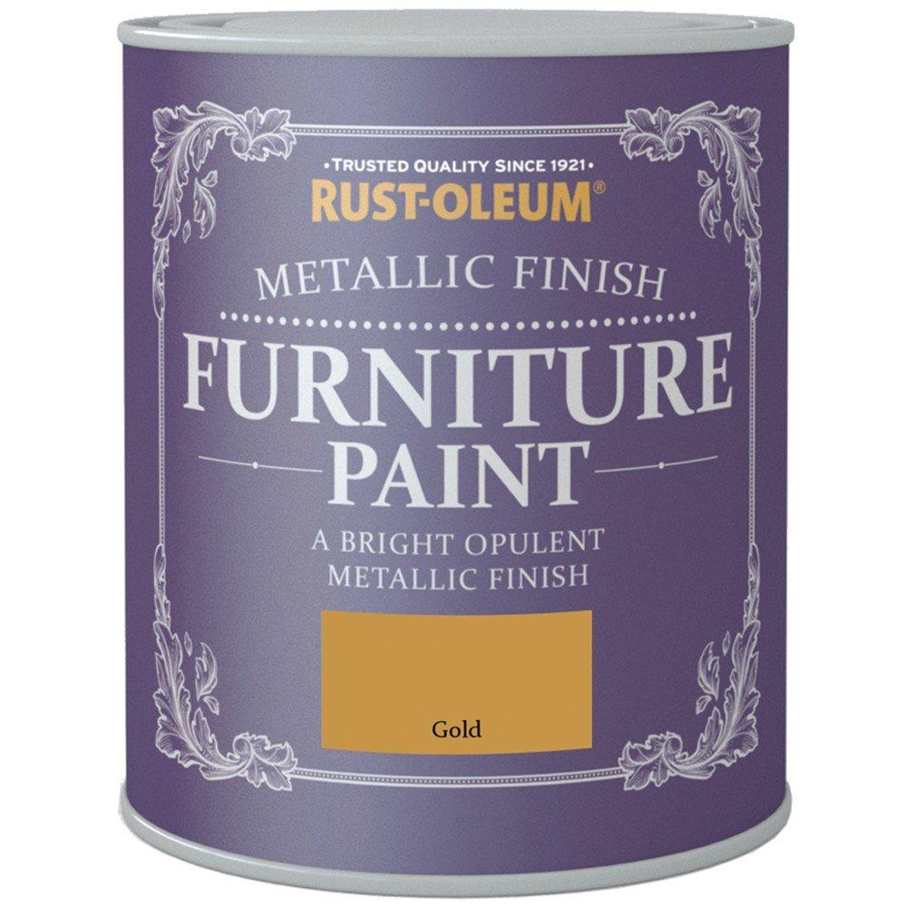 Rust Oleum Metallic Finish Furniture Paint Gold 750ml
