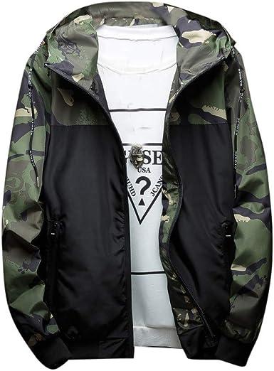YKARITIANNA Mens Solid Quilted Coats Autumn Winter Pure Color Pocket Open a hat Zipper Hooded Jacket Top Coat
