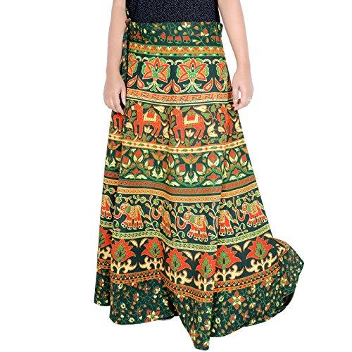 Sttoffa 38 Pouces De Longueur Wrap Autour De Bloc Imprimé Jupe Taille Libre Jupe Rajasthani D6 Vert