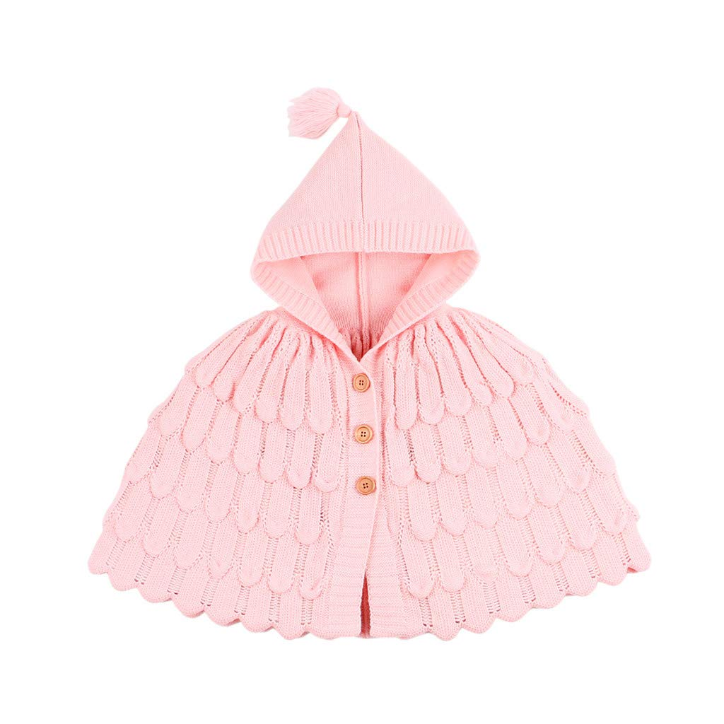 BFYOU Toddler Kids Baby Girls Winter Jacket Warm Coat Knit Outwear Hooded Sweater Pink by BFYOU_ Girl Clothing