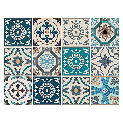 12 PC Pack Tile Stickers Home & Kitchen Self Adhesive Tile Decals Decor 6x6 Inch DIY Wall Sticker (Gentle Ocean Breeze) (Adhesive Self Wood Tiles)