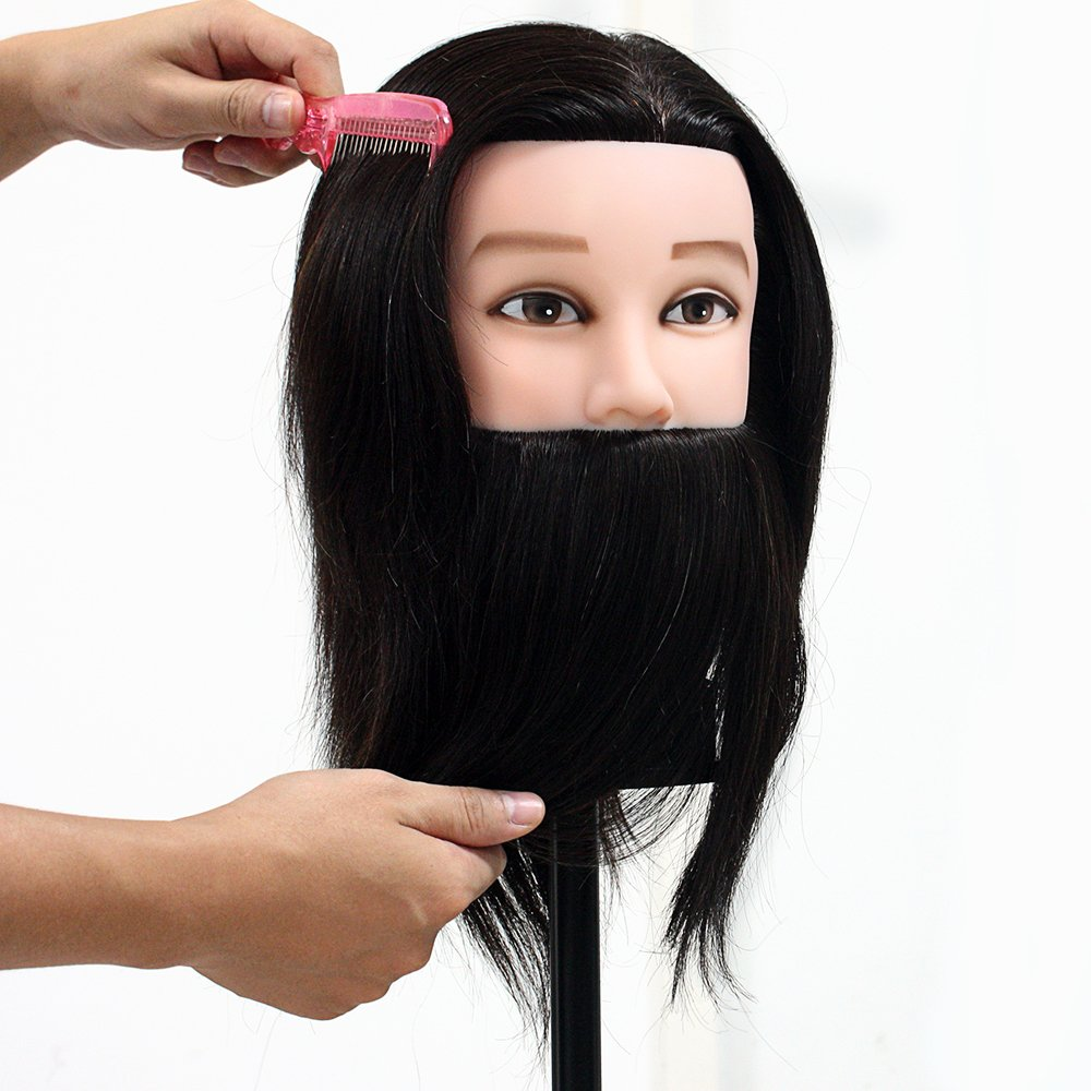 Neverland Beauty Man Mannequin Head 14 100% Real Human Hair With Beard Cosmetology Hairdressing Training Manikin Doll (Table Clamp Holder Included) Neverland Beauty & Health