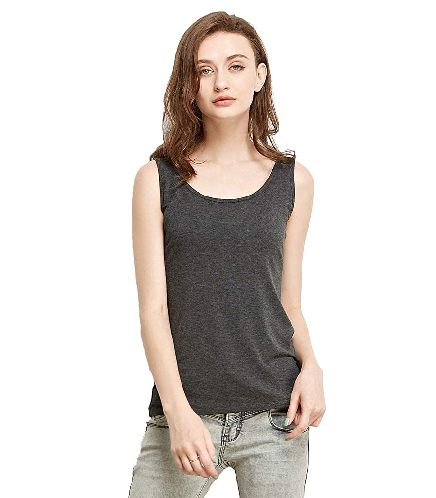 Liang Rou Womens Mini-Ribbed Stretchy Scoop Neck Tank Top