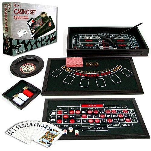 Mini 4 in 1 Casino Table Game Set - Play Poker, Craps, Roulette & Blackjack! by TMG