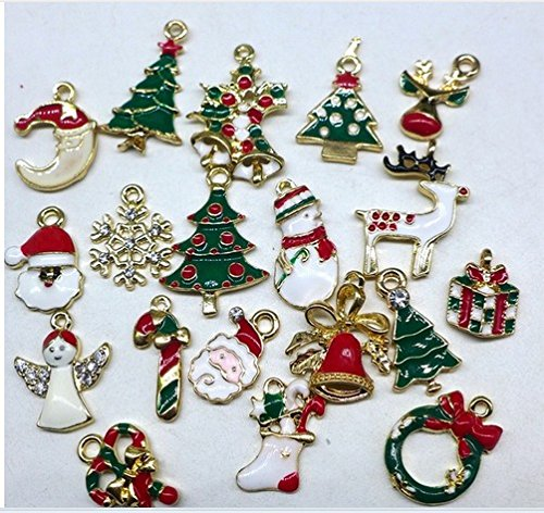 attachmenttou 19pcs Mixed Christmas Charms Set Multicolor Jewellery Pendants Xmas Holiday Party Decor Alloy Kicode