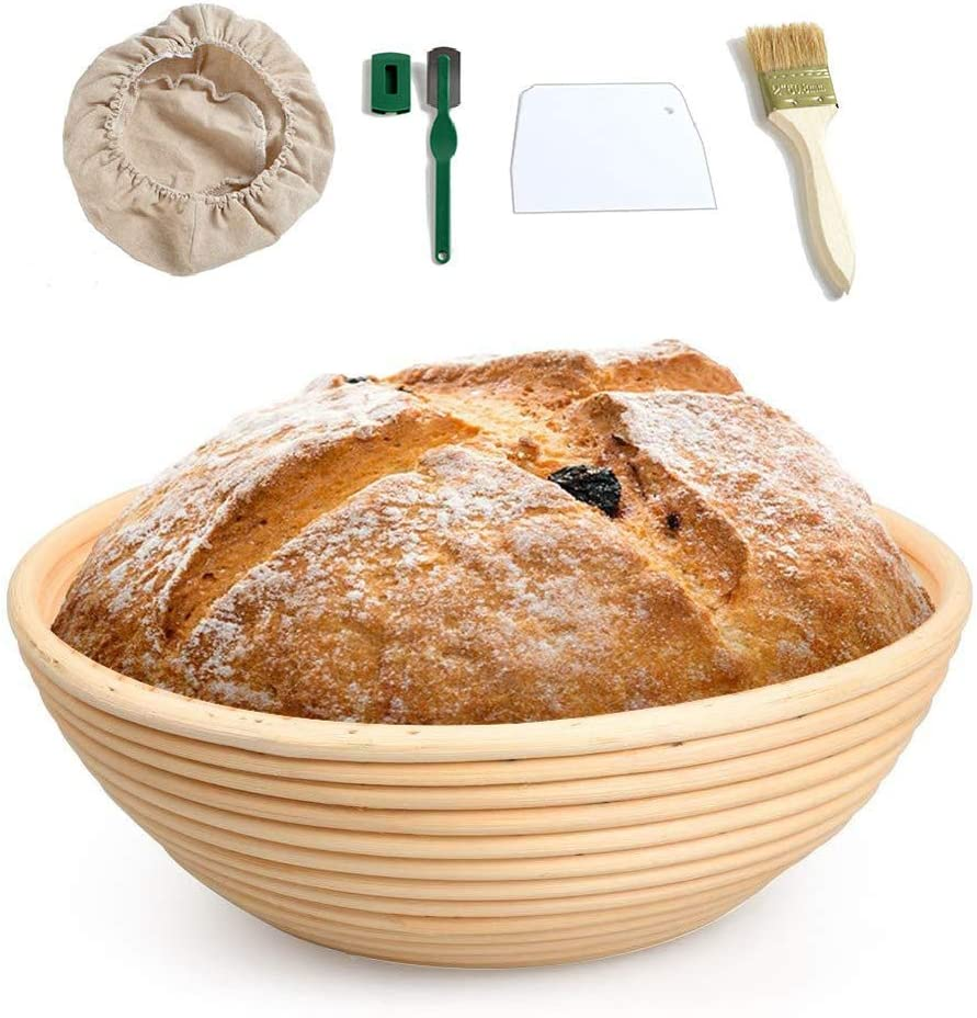 SODIAL 10 Pulgadas de Forma Redonda Pan RatáN FermentacióN Canasta de Alimentos Cuencos de Masa para Hornear, Regalos para Panaderos, para Cestas,para Afeitar, Herramientas para Hornear